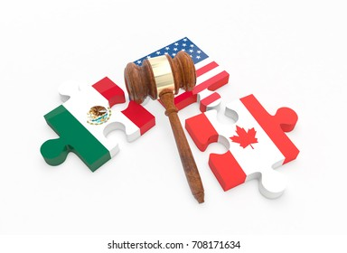 Separated jigsaw puzzle pieces with U.S., Canada and Mexico flags. NAFTA trade agreement termination concept. 3D Illustration.
