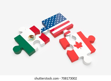 Separated jigsaw puzzle pieces with U.S., Canada and Mexico flags. NAFTA trade agreement members concept. 3D Illustration.