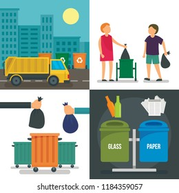 Separation recycle bin banner set. Flat illustration of separation recycle bin banner set for web design.