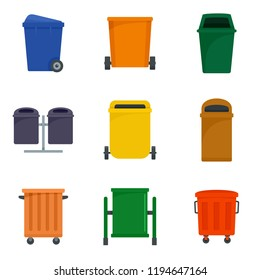Separation recycle bin waste trash icons set. Flat illustration of 9 separation recycle bin waste trash icons for web