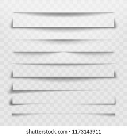 Separator line or shadow divider for web page. Horizontal dividers, shadows dividing lines and corners, 3d banner borders  templates set