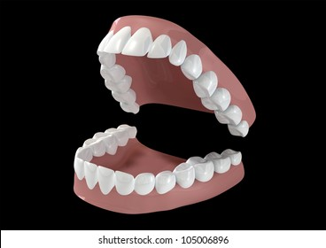 Seperated upper and lower sets of human teeth set in gums on a dark background