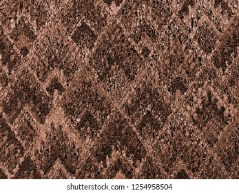 sepia background of Asian traditional pattern glassy in red brown color, colorful layer of  trapezoid mosaic pattern background in copper tone