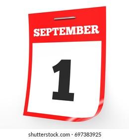 September 1. Calendar on white background. 3D illustration.