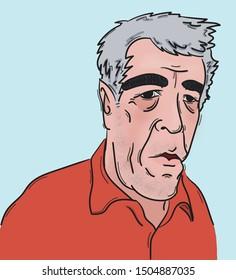 September 15 2019: Jeffrey Epstein portrait in an orange shirt.