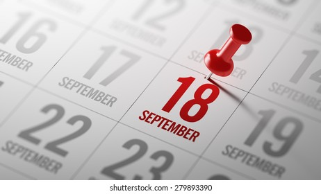 September 18 written on a calendar to remind you an important appointment.