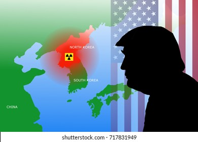 SEPTEMBER 19, 2017: An illustration showing the region of North Korea with nuclear symbol and a silhouette of US President Donald Trump on top of the United States flag.