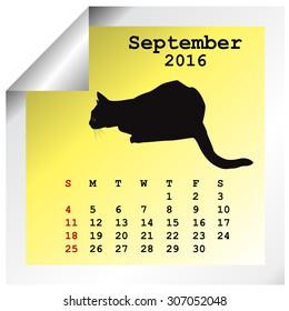 September 2016 Calendar with black cat silhouette