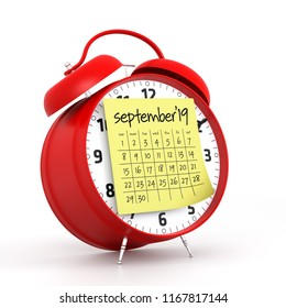 September 2019 Calendar with alarm clock. Isolated on White Background. 3D Illustration