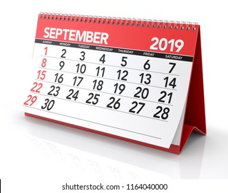 September 2019 Calendar. Isolated on White Background. 3D Illustration