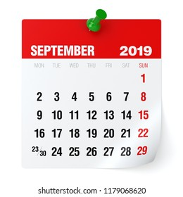 September 2019 - Calendar. Isolated on White Background. 3D Illustration