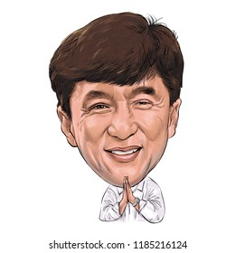 September 22, 2018 Caricature of Professionally as Jackie Chan, is a Hong Kong martial artist, Portrait Drawing Illustration.