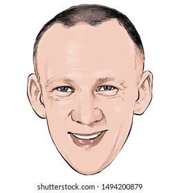 September 3, 2019 Caricature of Buzz Aldrin, Edwin Eugene Aldrin Jr. is an American engineer and a former astronaut, fighter pilot Portrait Drawing Illustration.