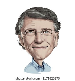 September 4 , 2018 Caricature of Bill Gates  Somalia businessman Millionaire Portrait Drawing Illustration.