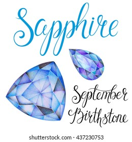 September birthstone Sapphire isolated on white background. Close up illustration of gems drawn by hand with colored pencils. Realistic faceted stones.
