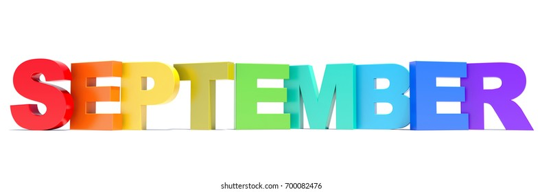 September - calendar month colored letters 3D render