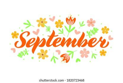 September - Hand drawn lettering month name. Handwritten month September for calendar, monthly logo, bullet journal or monthly organizer. Illustration isolated on white.