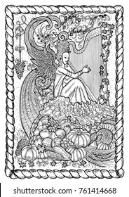 September month graphic concept in frame. Hand drawn engraved illustration. Beautiful musician queen with arpa against the background of abundance horn with autumn harvest