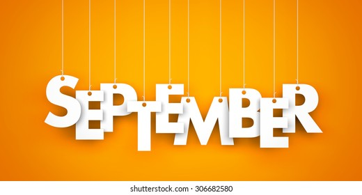 September - text hanging on the strings