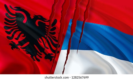 Serbia and Albania flags with scar concept. Waving flag design,3D rendering. Serbia Albania flag pictures, wallpaper image. Serbian Albanian relations war alliance concept. Tirana Belgrade war concept