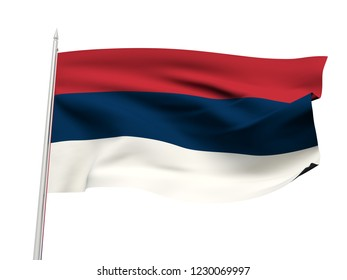 Serbia flag floating in the wind with a White sky background. 3D illustration.