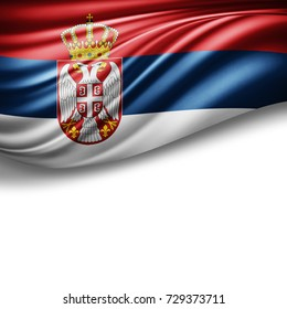Serbia flag of silk with copyspace for your text or images and white background -3D illustration