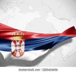 Serbia flag of silk and world map background -3D illustration