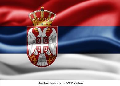 Serbia flag of silk-3D illustration