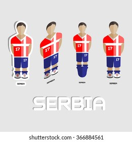Serbia Soccer Team Sportswear Template. Front View of Outdoor Activity Sportswear for Men and Boys. Digital background raster illustration. Stylish design for t-shirts, shorts and boots.
