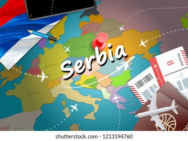 Serbia travel concept map background with planes,tickets. Visit Serbia travel and tourism destination concept. Serbia flag on map. Planes and flights to Serbian holidays to Belgrade,Novi Sad
