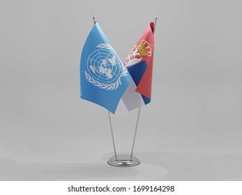 Serbia - United Nations Cooperation Flags, White Background - 3D Render