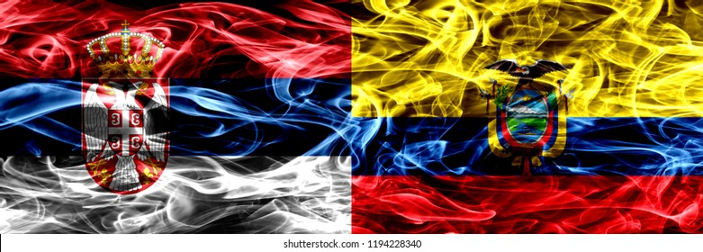 Serbia vs Ecuador, Ecuadorian smoke flags placed side by side. Thick colored silky smoke flags of Serbian and Ecuador, Ecuadorian