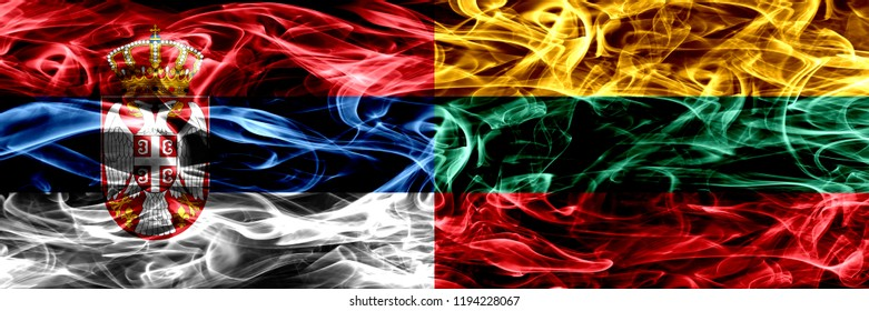 Serbia vs Lithuania, Lithuanian smoke flags placed side by side. Thick colored silky smoke flags of Serbian and Lithuania, Lithuanian