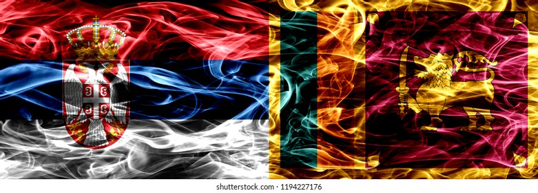 Serbia vs Sri Lanka, Sri Lankan smoke flags placed side by side. Thick colored silky smoke flags of Serbian and Sri Lanka, Sri Lankan