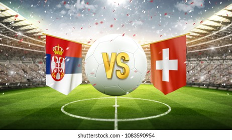 Serbia vs Switzerland. Soccer concept. White soccer ball with the flag in the stadium, 2018. 3d render