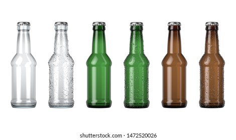 A series of clear amber and green glass beer bottles nwith droplets of condensation on an isolated white studio background - 3D render
