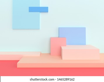 series of geometric figures that form an asymmetrical podium. 3d render image