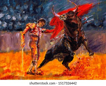 From a series of great matadors. Bullfight. Luis Miguel Domingin - the Spanish matador was very popular in the 1940s-1950s in Spain, Portugal, Colombia and other countries.