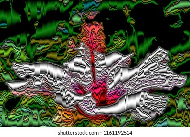 series of illustrations of flower hibisco, with metallic and volume effects, abstract expressionism, digital art,