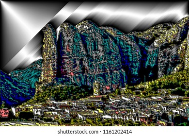 series of illustrations of landscapes of mallos de Agüero y Riglos,  with metallic and volume effects,  abstract expressionism, digital art,