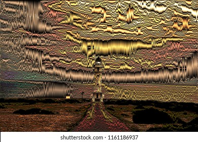 series of illustrations of the lighthouse of La Mola, Formentera, sunsets with metallic and volume effects, abstract expressionism, digital art,