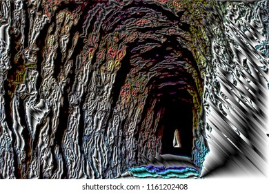 series of illustrations of Tunnel of Lumbier foz, Navarra, spain, with metallic and volume effects, abstract expressionism, digital art,