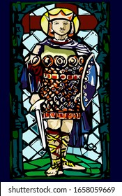 A series of kings of England. St. Edwin is the king of Northumbria. Edwin converted to Christianity and was later canonized. Died at the Battle of Hatfield