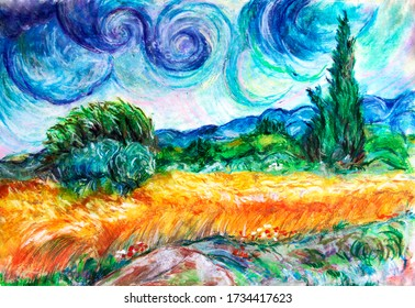 Series of landscapes. Painting oil pastel, in imitation of the old artists. Wheat field in France.  Wheat field with cypress.