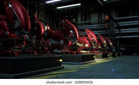 series row of large red robots in the force of a fallout on pedestals in the shop floor at night. Sci-fi futuristic industry production 3d render