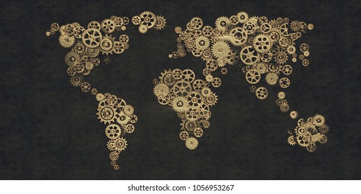 A series of stylized abstract backgrounds on the subject of artificial intelligence, computer technology and innovation. 3d illustration, relief background with embossed in golden black tones.