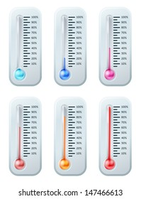 A series of thermometers with the colour of the liquid turning warmer as temperature increases or target or goal is reached. Starts off blue through to red.