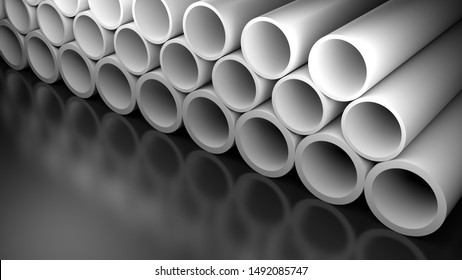 A series of white tubes on a glossy black surface - 3D rendering illustration