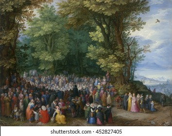 The Sermon on the Mount, by Jan Brueghel the Elder, 1898, Flemish painting, oil on copper. Christ stands at a rustic podium near the crowd's center, identified by a pale yellow halo. Brueghel depicts