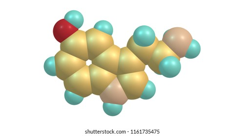 Serotonin or 5-hydroxytryptamine is a monoamine neurotransmitter, and is popularly thought to be a contributor to feelings of well-being and happiness. 3d illustration